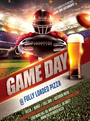 Fully Loaded Pizza UGA Game Day Saturday Football Flyer