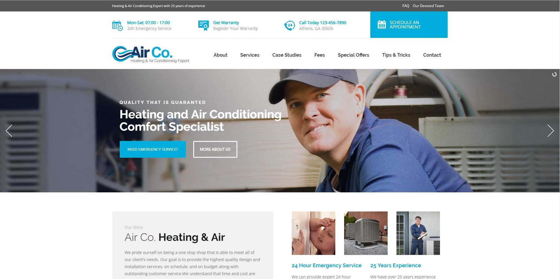 A Company Website For Heating, Air Conditioning & Maintenance Services